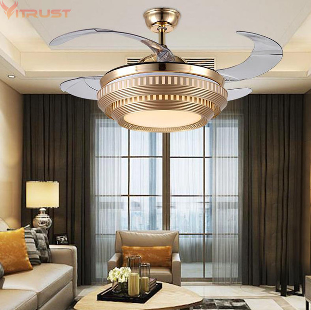 Modern LED Ceiling Fan Lights Lamps Remote Control Ventilador techo con luz plafond sans lumiere  Lighting Dining room Bedroom