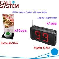 Draadloos Bellen Bel K-302 + O1-G + H voor restaurant met 1-key belknop met menu houder en display DHL gratis Verzending