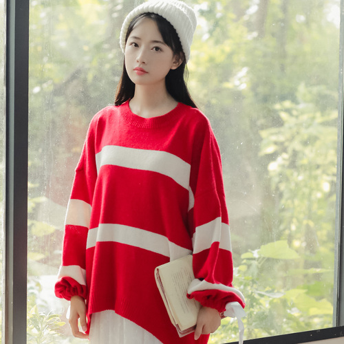 Women Sweaters and Pullovers 2017 Autumn Winter Casual Loose Striped Bow Long Sleeve Knitted Christmas Sweater pull femme 2227