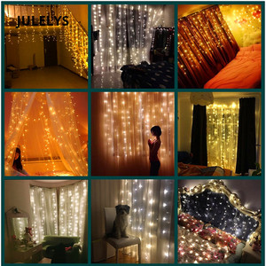 Image 4 - JULELYS 10m x 4m 1280 נורות LED חתונת קישוט וילון אורות חג המולד זרי חג אורות לחצר אחורית כיכר גן