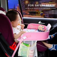 Platos de bandeja para coche para bebé de OLOEY, mesa de bebidas impermeable portátil para comedor, asiento para coche para niños, soporte de juguete de dibujos animados para niños, cerca de almacenamiento para bebés