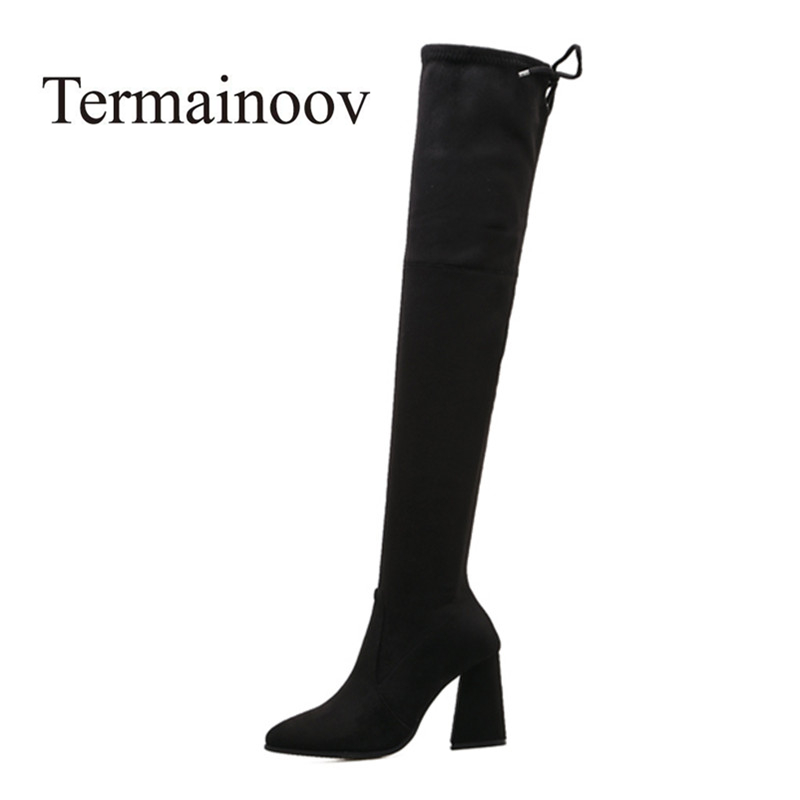 2017 New High Quaility Thick Heel Gladiator Pointed Toe Over the knee Boots Women  Zipper Outdoor Boots Snow Boots женское платье quaility freja db006