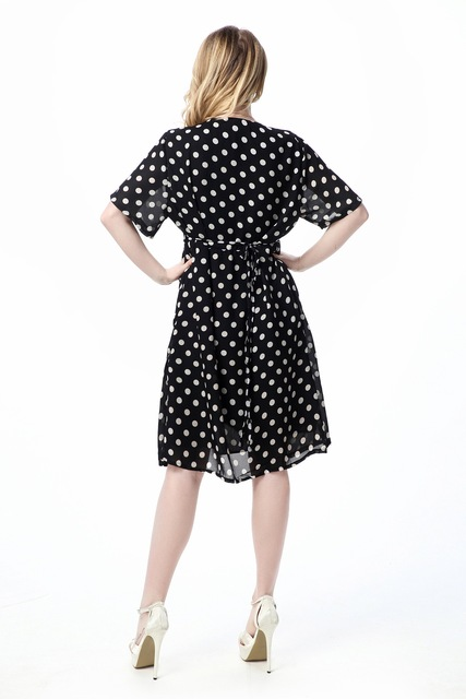 L-7XL Women Vintage Chiffon Polka Dot Ruffle Soft Short Sleeves Summer Modern Elegant Causal Black Sashes plus size dress.