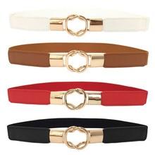 Corset Belt For Women Dresses Retro Elastic Stretchy Metal Buckle Skinny Waist C