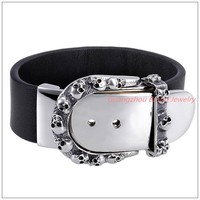 Wholesale/Reatil!Cool 316L Stainless Steel Silver Skull Clasp Black Belt Leather Men's Bangle Bracelet 8.5