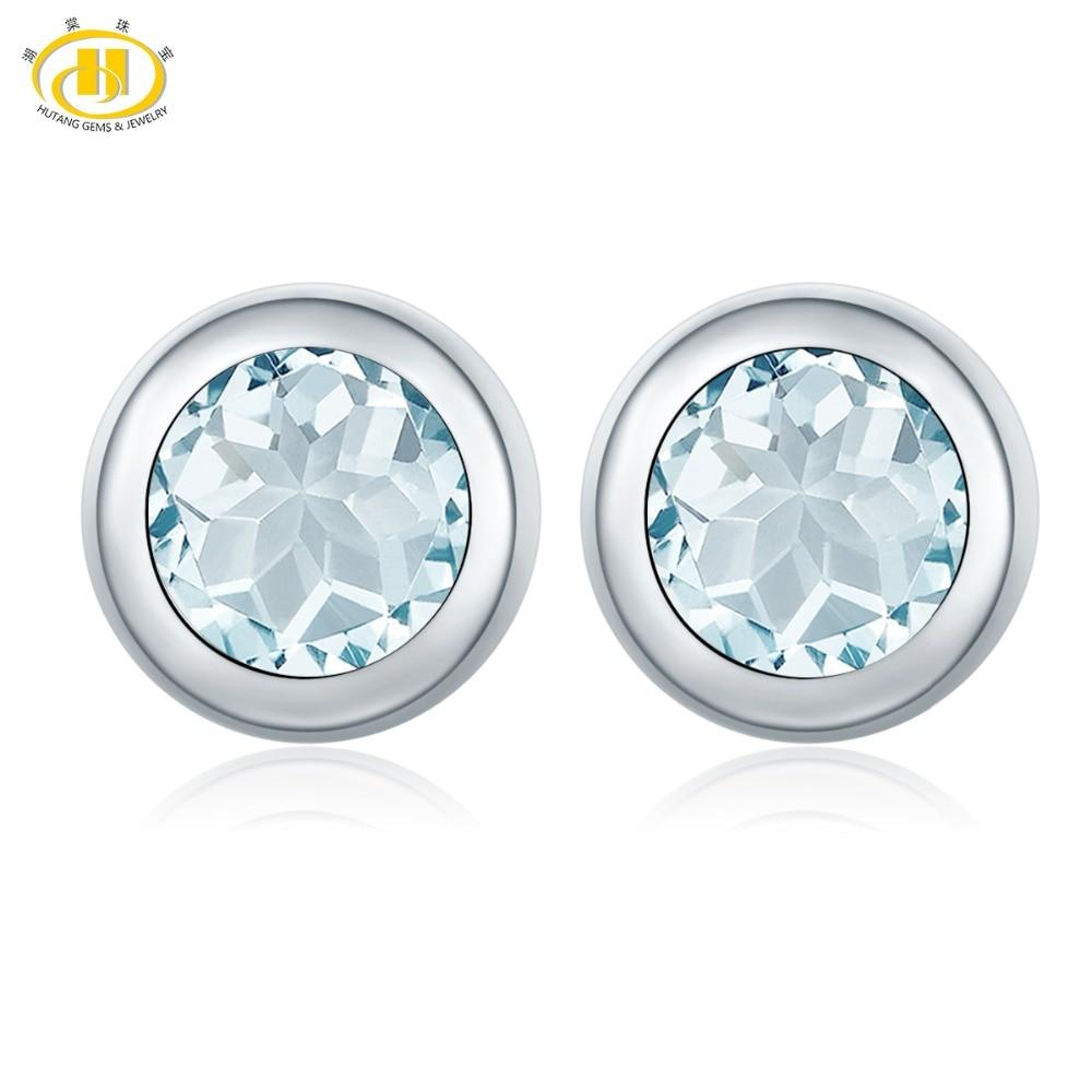 Hutang 1.38ct Natural Aquamarine Stud Earrings Solid 925 Sterling Silver Bezel Set Gemstone Fine Stone Jewelry Women gift 11.11