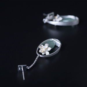 Image 4 - Flyleaf Natural jade Gold Flower Drop Earrings For Women 100% 925 Sterling Silver Chinese Style Vintage Jewelry