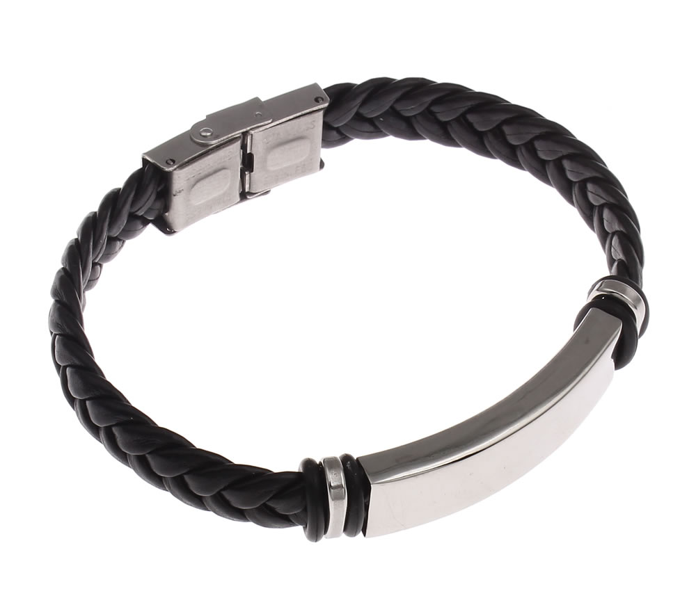 Leather Bracelet Men Pu Punk Bracelets Wrap Wristband Stainless Steel  Hombre Sporty Bicycle Cool Braided Weaved