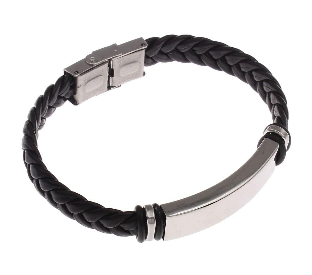 Leather bracelet men pU punk bracelets wrap wristband stainless steel hombre sporty bicycle cool braided weaved black bracelets