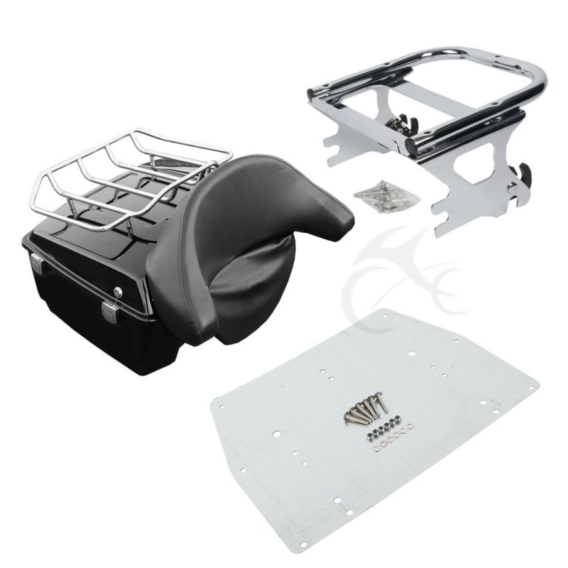 Motorcycle King Tour Pak Pack Trunk Backrest Luggage Rack Mount For Harley Touring Road King Electra Glide FLHR FLHT FLTR FLH in Top Cases from Automobiles Motorcycles