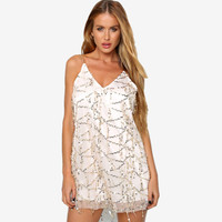 Gleam Back Rose Gold Sequin Dress Sparkle Shine Sexy White Short Dress Summer Sleeveless V Neck
