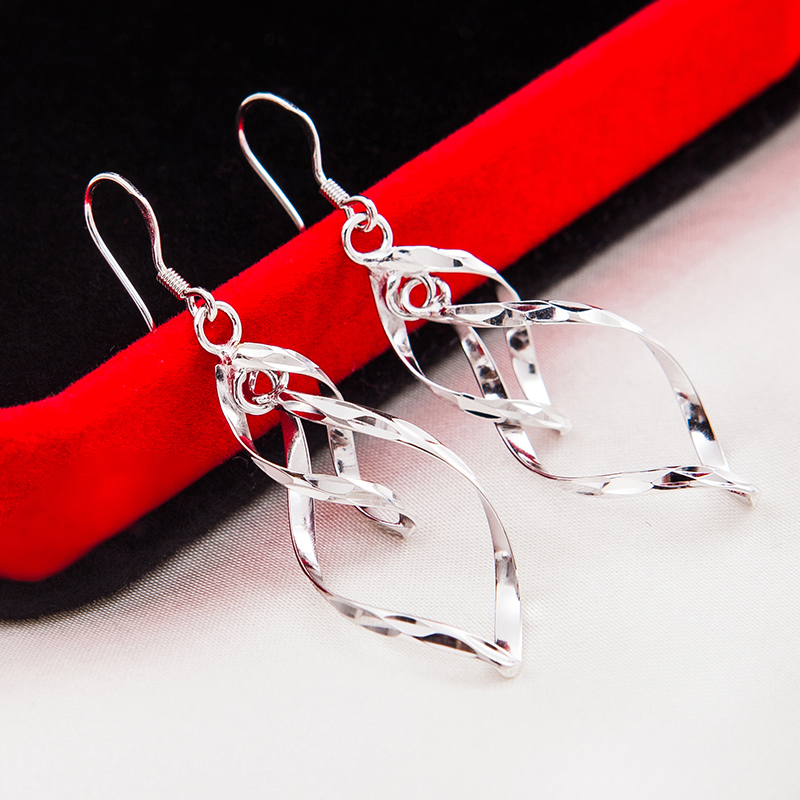 925 Sterling Silber Ohrringe 2017 Fashion Design Hot Für Frauen - Edlen Schmuck - Foto 3