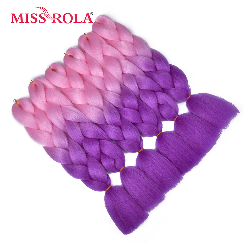 Miss Rola 100g Ombre Braiding Hair Extensions 1pc Corchet Hair Braids Synthetic Hair Bundle