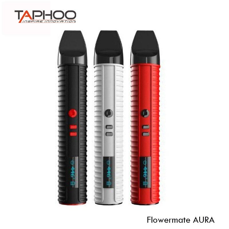 Original Flowermate AURA 3 in 1 Wax Dry Herb Vaporizer Electronic Cigarette 2600mah Ceramic coil E-Cigarettes black widow цена
