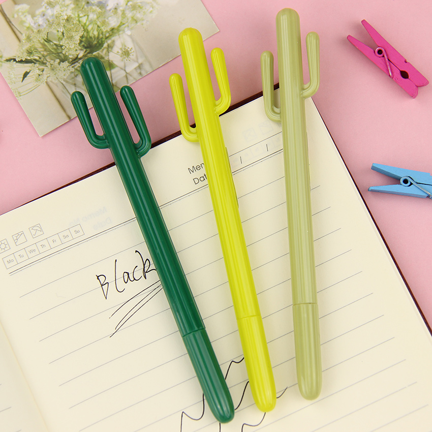 3 PCS Cute Cactus Gel Pen Kawaii Korean Stationery Creative Gift School Supplies 0.38mm Plant Pen