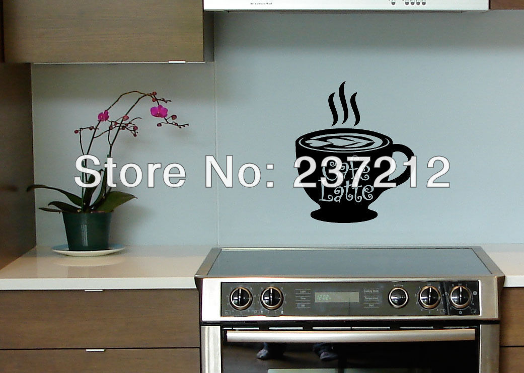 Free Shipping Cafe Latte Coffee Kitchen Wall Art Vinyl Decal Decor Removable Wall Stickers