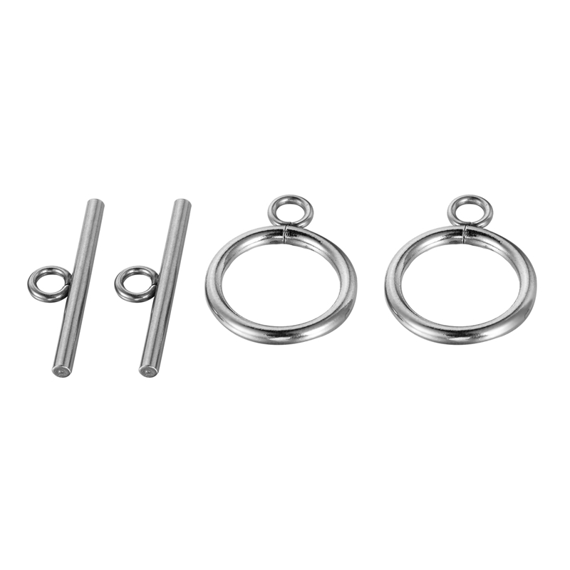 LASPERAL 5PCs Sliver Tone Stainless Steel Buckle OT Connectors Clasp Fit Bracelets Necklace Diy Jewelry Findings Components