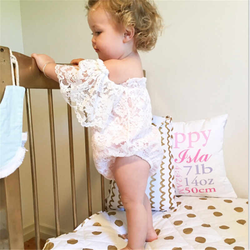 97bbdb6f8830 Emmababy 2017 0-24M Summer Princess Girls White Lace bodysuit Baby Girl Off  shoulder One