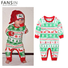 FANSIN Brand Christmas Baby Girls Boys Clothes Newborn Infant Striped Romper Kids Snowflake Reindeer Christmas Costume Outfit