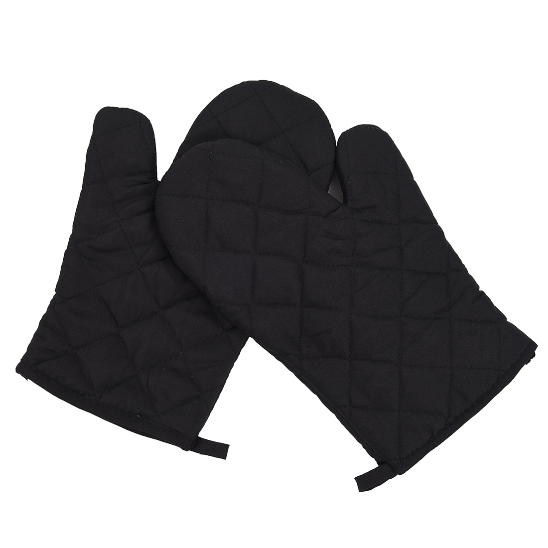 White pot holders for crafts - 1 Pair Kitchen Craft Heat Resistant Cotton Oven Glove Pot Holder Baking Cooking Mitts Black