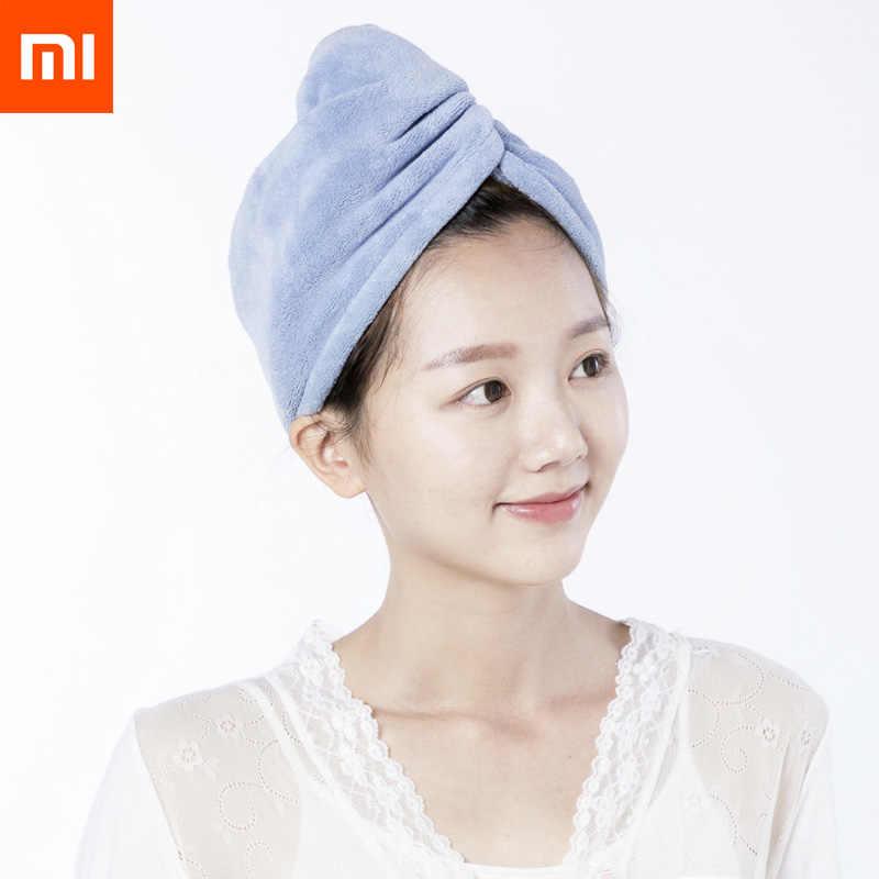 Xiaomi mijia sim متعة النساء الحمام السوبر ماصة التجفيف السريع ستوكات غطاء الشعر الجاف منشفة صالون 24x64 سنتيمتر