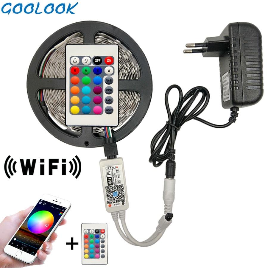 5M 5050 RGB WIFI LED Strip light Waterproof 10M 15M 2835 Led Ribbon Tape With WIFI Wireless Controller DC 12V Adapter Stripe Kit(China)