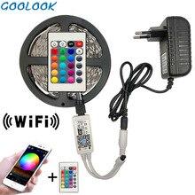 Bande lumineuse étanche avec contrôleur sans fil WIFI, adaptateur sans fil, 12V DC, 5M 5050 RGB WIFI LED, 10M 15M, 2835, ruban Led
