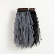 ハイファッション黒チュールスカート 最新非対称チュールスカート弾性ウエストプラスサイズ女性スカート高低 2018 Saias