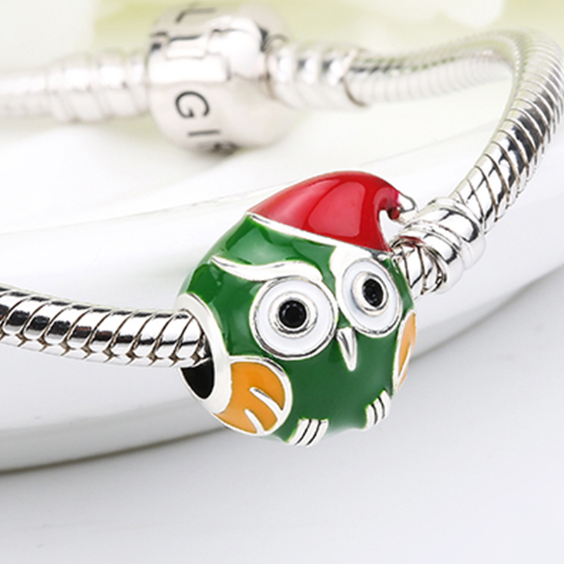 SG 925 Sterling Silver green owl Bead Charms with red enamel Christmas hat Fit authentic pandora Bracelets Jewelry free delivery