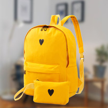 e21a42a0fdb2 High Canvas Heart Yellow Backpacks Travel Bags Girls School Laptop for womens  rucksack waterproof printing nylon