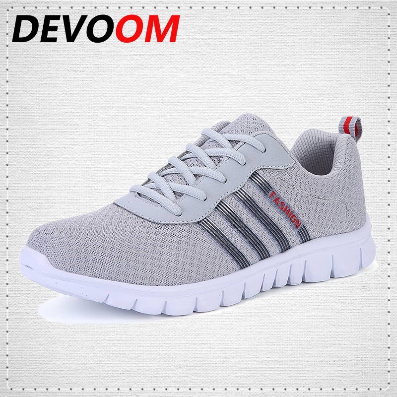 DEVOOM Men Air Mesh Outdoor Shoes New Fashion Comfortable Soft Walking Casual Shoes Lightweight Trainers chaussure homme sapatos high quality men casual shoes fashion lace up air mesh shoe men s 2017 autumn design breathable lightweight walking shoes e62