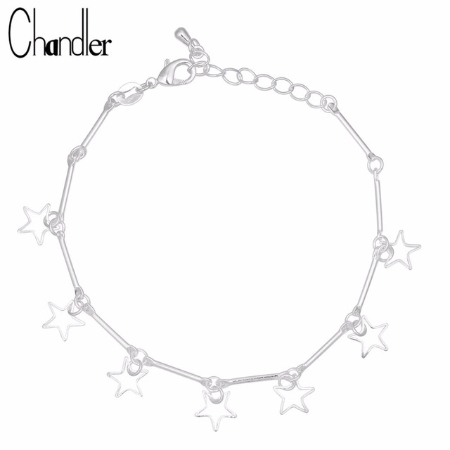 Chandler 925 Sterling Silver David Star Charm Bracelet & Bangles For Women Arm Hand Argent Pulsera Statement Slim Chic Jewelry