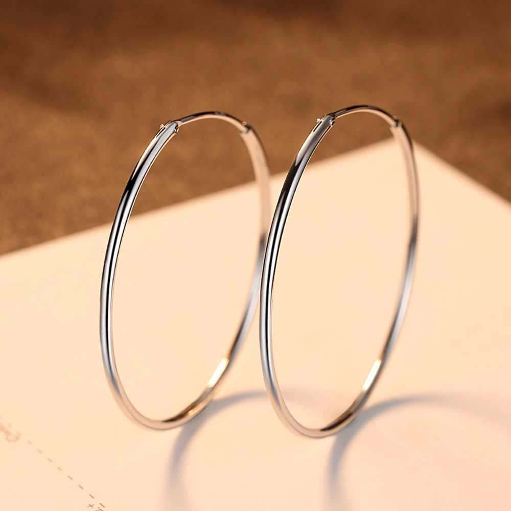 Czcity popular 10-50mm huggie hoop brincos para mulher 925 prata esterlina clássico minimalista círculo brinco jóias finas
