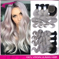 7A Grade Ombre Silver Malaysian Virgin Hair 3pcs with Closure Two Tone 1B/Gray Ombre Color Hair Ombre Grey Hair Weave