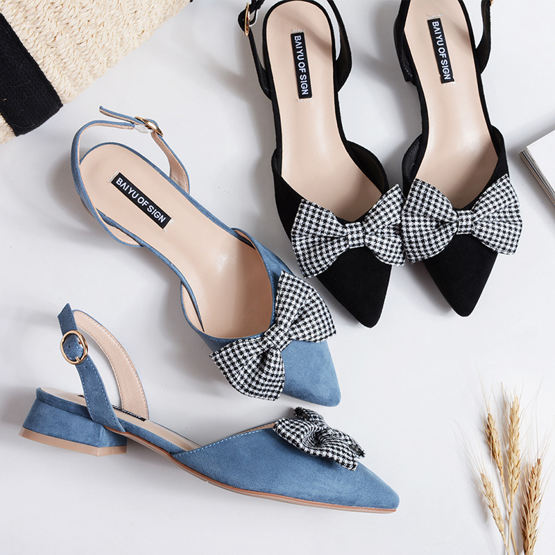 Lady Sandals Plaid Style Medium Heel Women Summer Sandals with Bowknot Solid Color Fashion Sandals Sandalias Mujer Size 35-40 cresfimix sandalias de mujer women fashion black beach flat sandals lady cute solid comfortable plus size sandals with crystal