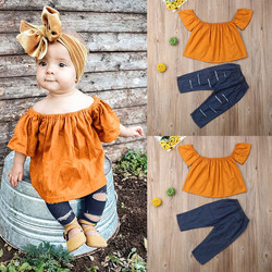 Kids Girls Clothes Toddler Children Sets Off Shoulder Solid Tops Hole jeans Piece kit Outfit Little Girls Clothing Wholesale