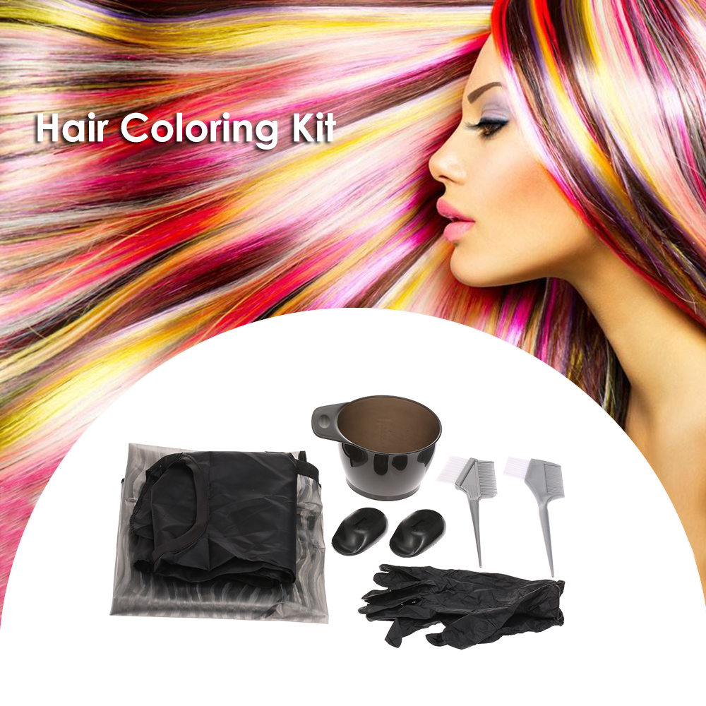 Hair Coloring Kit Dyeing Tinting Bowl Brush Salon Apron Ear Cover Gloves Hairdressing Coloring Tool Double Head Brush