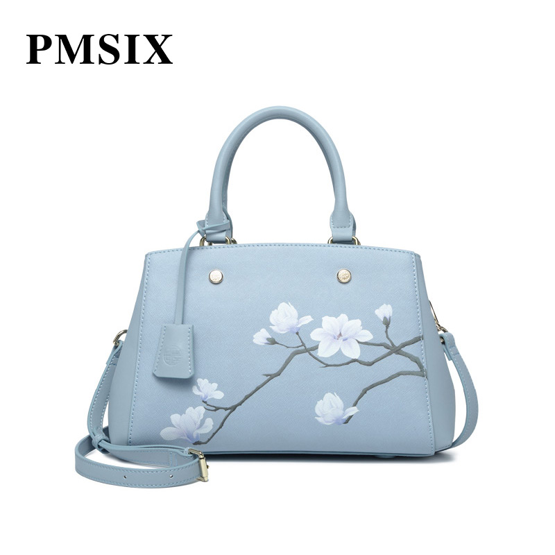 PMSIX  Women Famous Brands Printed Floral Handbags ladies Leather Fashion Casual bags Light blue Large Capacity Shoulder BagsPMSIX  Women Famous Brands Printed Floral Handbags ladies Leather Fashion Casual bags Light blue Large Capacity Shoulder Bags