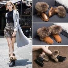 หรูหราผู้หญิงขนาดใหญ่ธรรมชาติฟ็อกซ์ขนรองเท้าหิมะกันน้ำหนังแท้รองเท้าข้อเท้าแบนฤดูหนาวจริงR Acconรองเท้าที่ทำจากขนสัตว์
