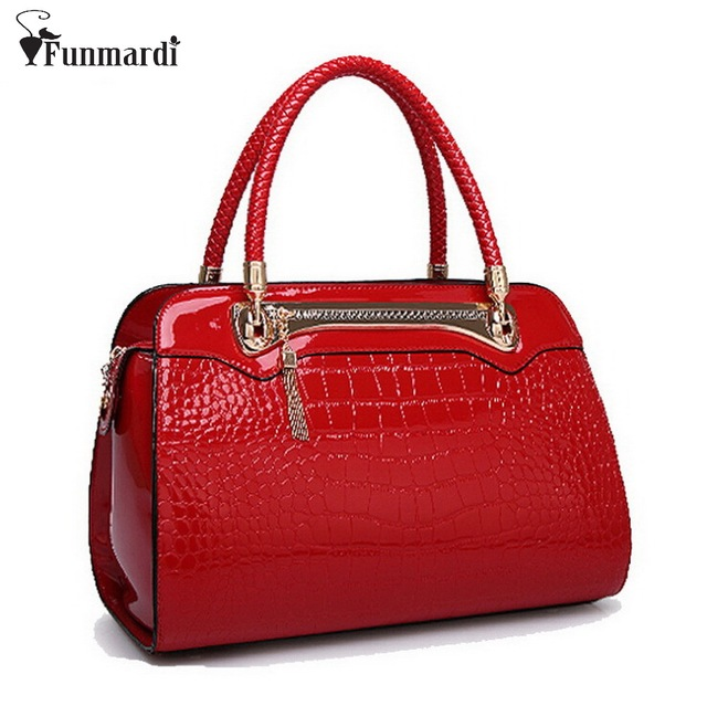 New arrival brand CROCO design OL patent Leather women bag candy colors Trendy shoulder bags fashion lady handbag WLHB1040