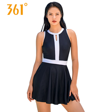 361 Women One Piece Swimsuits Black Sexy Skirt Push Up Swimwear 2018 Hot Spring New Large Size Backless Swimming Suits