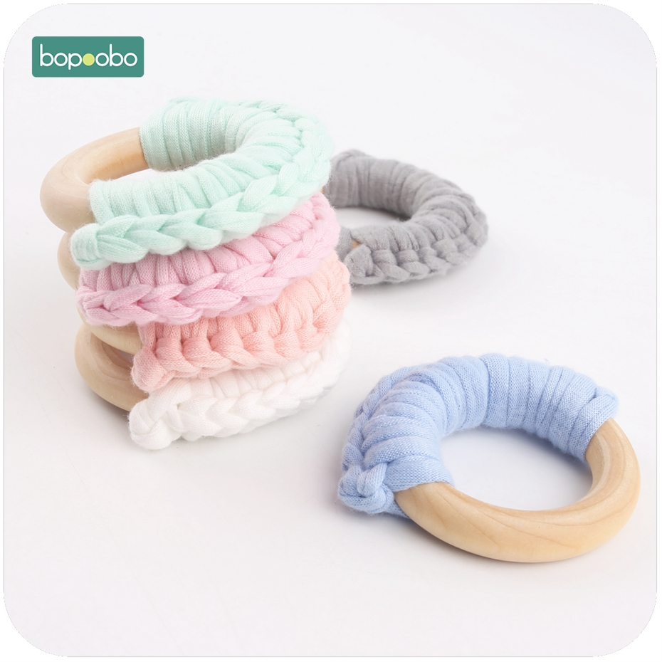 Bopoobo 5pc 56mm Wooden Teethers Cloth Half Rings Cotton Handmade DIY Baby Accessories BPA Free Waldorf Wood Ring Baby Teethers
