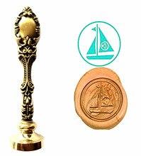 Sailing Boat Vintage Custom Picture Logo Luxury Wax Seal Sealing Stamp Brass Peacock Metal Handle Gift Set