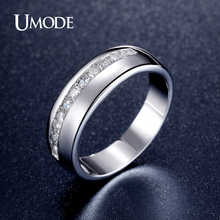 UMODE Rhodium plated CZ  Ring Brand Fashion Jewelry Wedding Engagement Rings For Women Wedding Band Lover Gift AUR0358