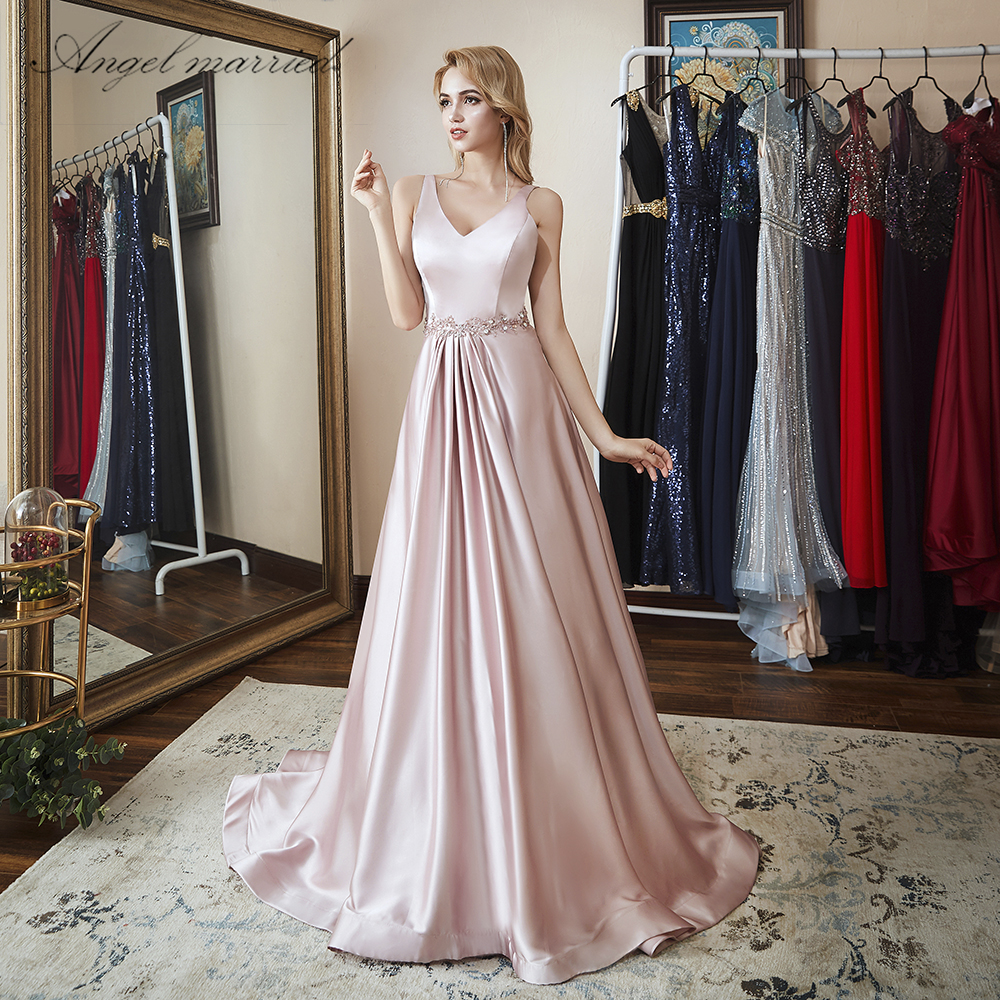 Angel married simple Evening Dresses long pink prom gowns formal ...