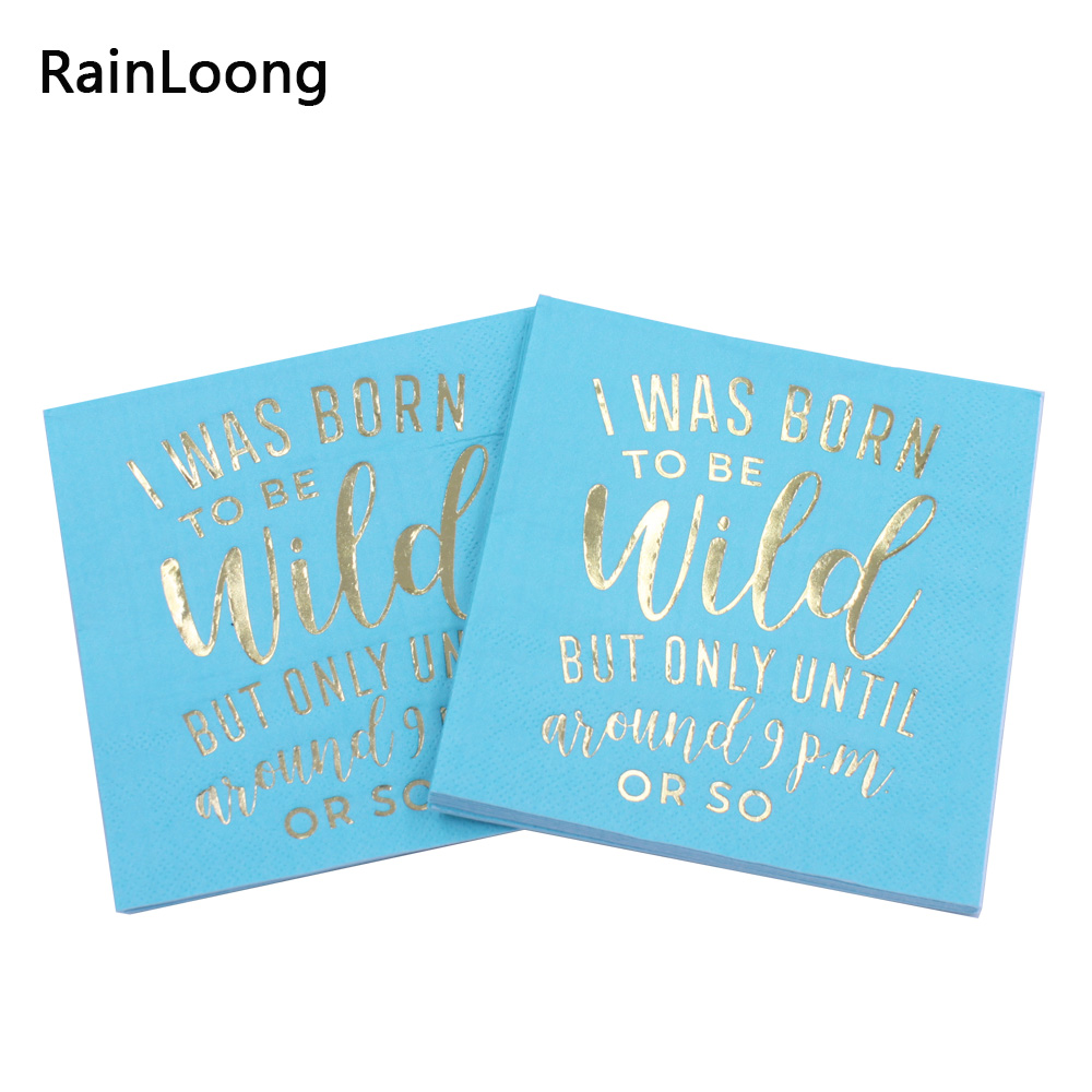 [RainLoong] 3-Plys Foil Gold Beverage Paper Napkins Wild For Party Decoration Supply Tissue Serviettes 25*25cm