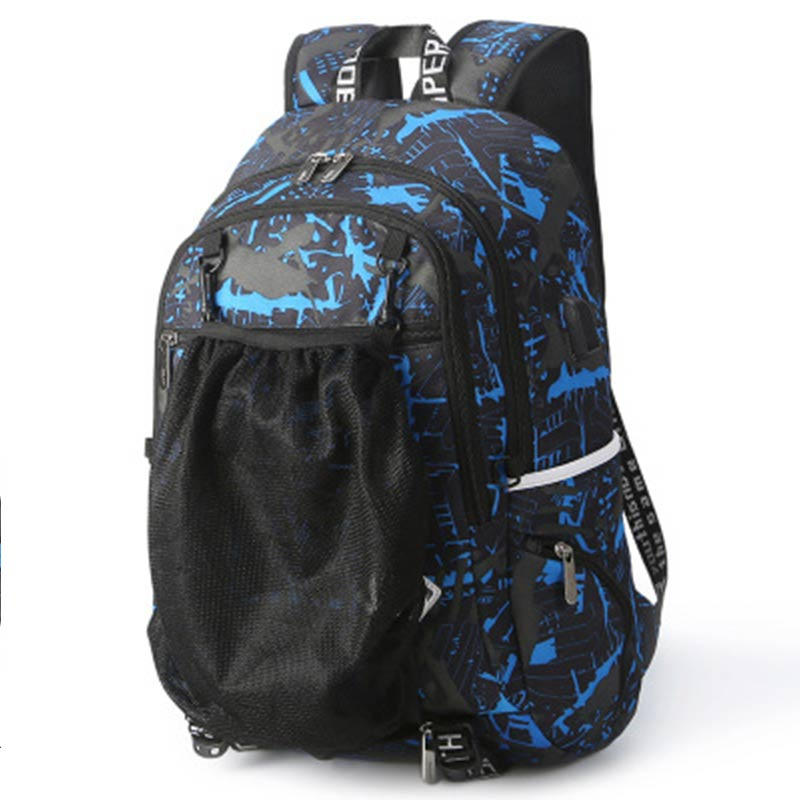2018 New Men Camouflage Bakcpack Student With Ball Net Pocket Outdoors USB Charge Bag Men Traveling School Zipper Backpack