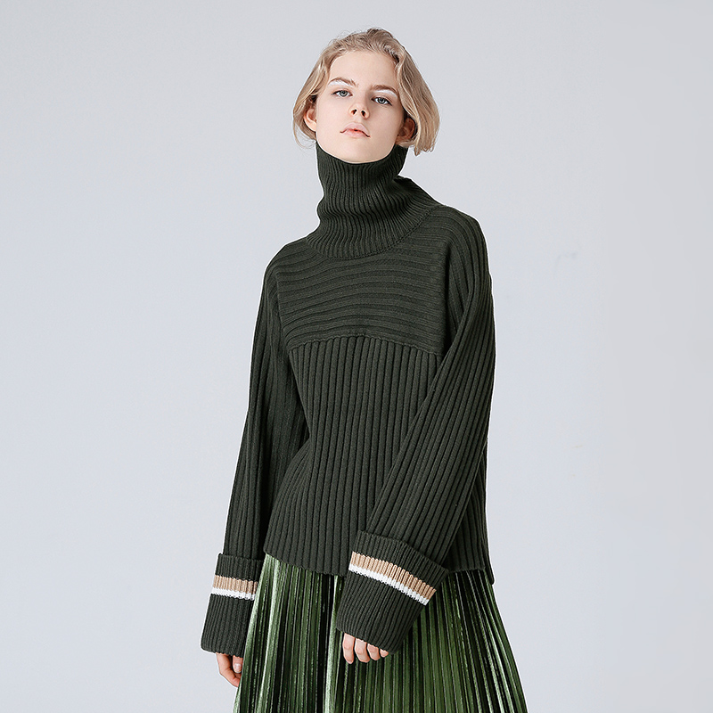 Toyouth Vintage Army Green Turtleneck Sweater Women All-Match Knitted Pullovers And Sweaters Contrast Color Pull Femme Hiver