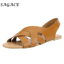 SAGACE Shoes Women flat Leather sandals ankle strap shoes Simple sandals 2019 summer ladies sandals Beach Slippers casual shoes