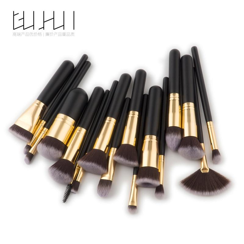 17 Makeup Brush, Beauty Tool, Black Gold Foundation Brush, Fan Brush, Make-up Set, GUJHUI 5 8 10 makeup brush make up tool set beauty brush foundation brush rose gold gujhui